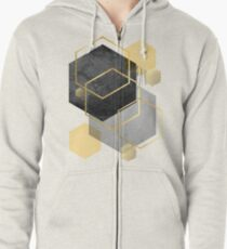 Black and Gold Geometric Zipped Hoodie