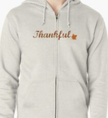 Thankful with Fall Leaf Zipped Hoodie