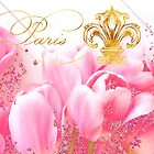 Wedding in Paris II pink tulip floral art, golden elements by Glimmersmith