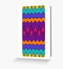 Retro Psychedelic Diamonds and Zig-Zags Greeting Card