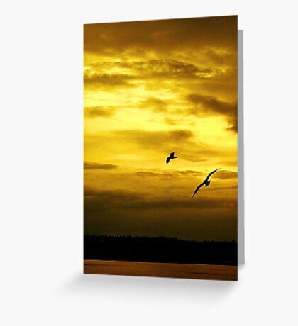 Golden Sunset on Puget sound Greeting Card