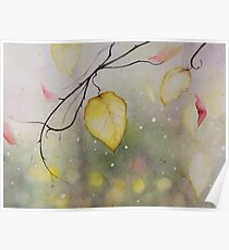 Autumn Leaf Watercolor Painting Poster