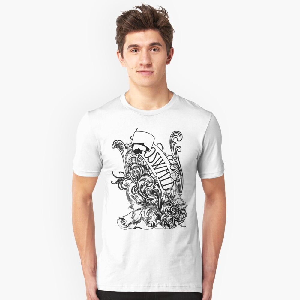 Oswald Scrolly Black Unisex T-Shirt Front