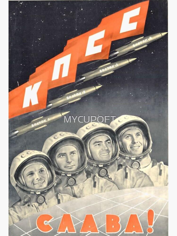Sowjetisches T-Shirt Kosmonauten UDSSR-Weltraumprogramm Vintages Russland-Plakat von MYCUPOFT