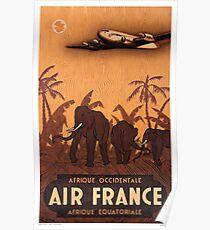1946 Air France Afrique Occidentale Afrique Equatoriale Travel Poster Poster