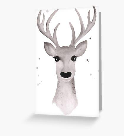 Deer Soft Grey - White Greeting Card