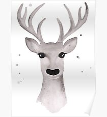 Deer Soft Grey - White Poster