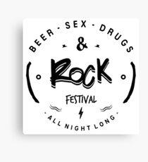 sex drugs and rocknroll, black an white Canvas Print