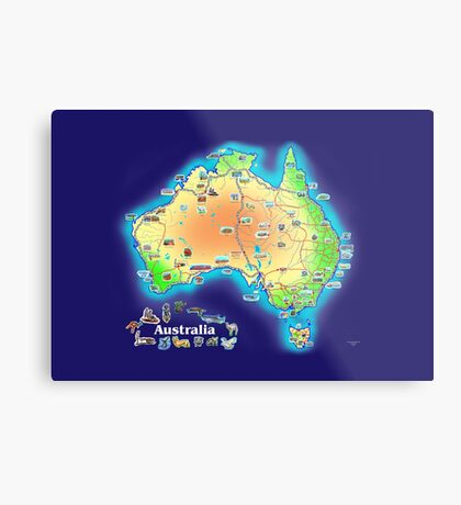 Australia map scarf Metal Print