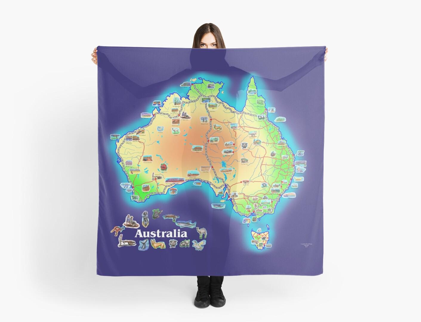 Australia map scarf by David Fraser