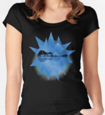 Blue Geometric Nature Guitar Women's Fitted Scoop T-Shirt