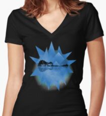 Blue Geometric Nature Guitar Women's Fitted V-Neck T-Shirt