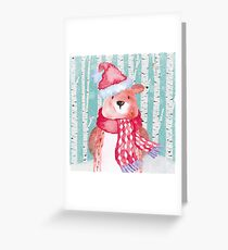 Winter Woodland Friends Bear Forest Animals Illustration Greeting Card