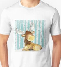 Winter Woodland Friends Moose Forest Animals Illustration T-Shirt