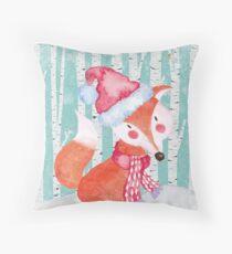 Winter Woodland Friends Fox Forest Animals Illustration Throw Pillow