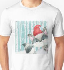 Winter Woodland Friends Racoon Forest Animals Illustration T-Shirt