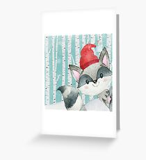 Winter Woodland Friends Racoon Forest Animals Illustration Greeting Card