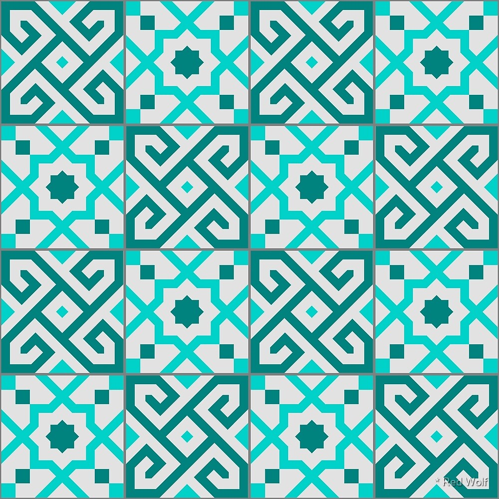Geometric Pattern: Tiles: Blue by * Red Wolf