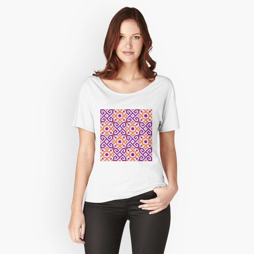 Geometric Pattern: Tiles: Purple/Orange Relaxed Fit T-Shirt