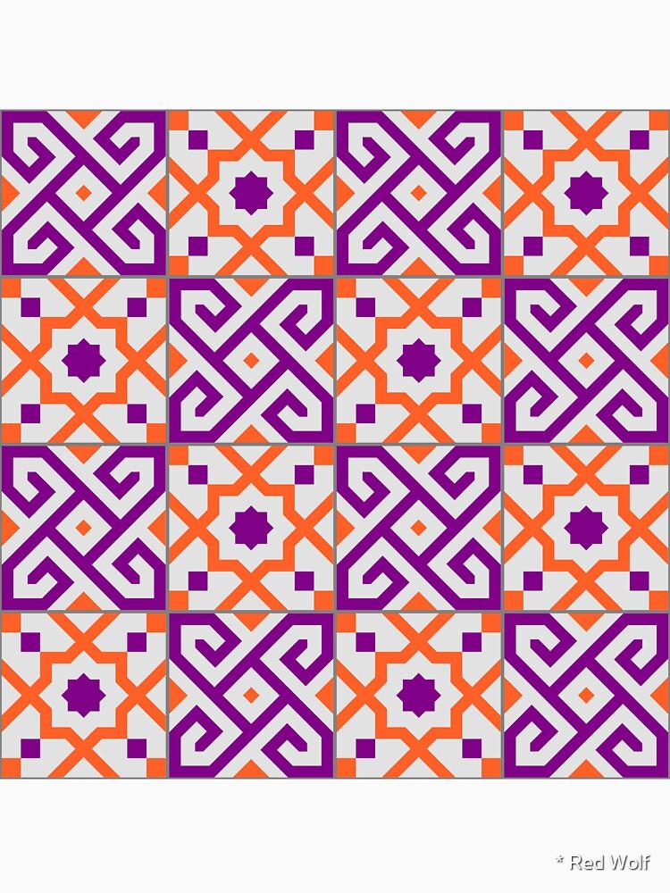 Geometric Pattern: Tiles: Purple/Orange by redwolfoz