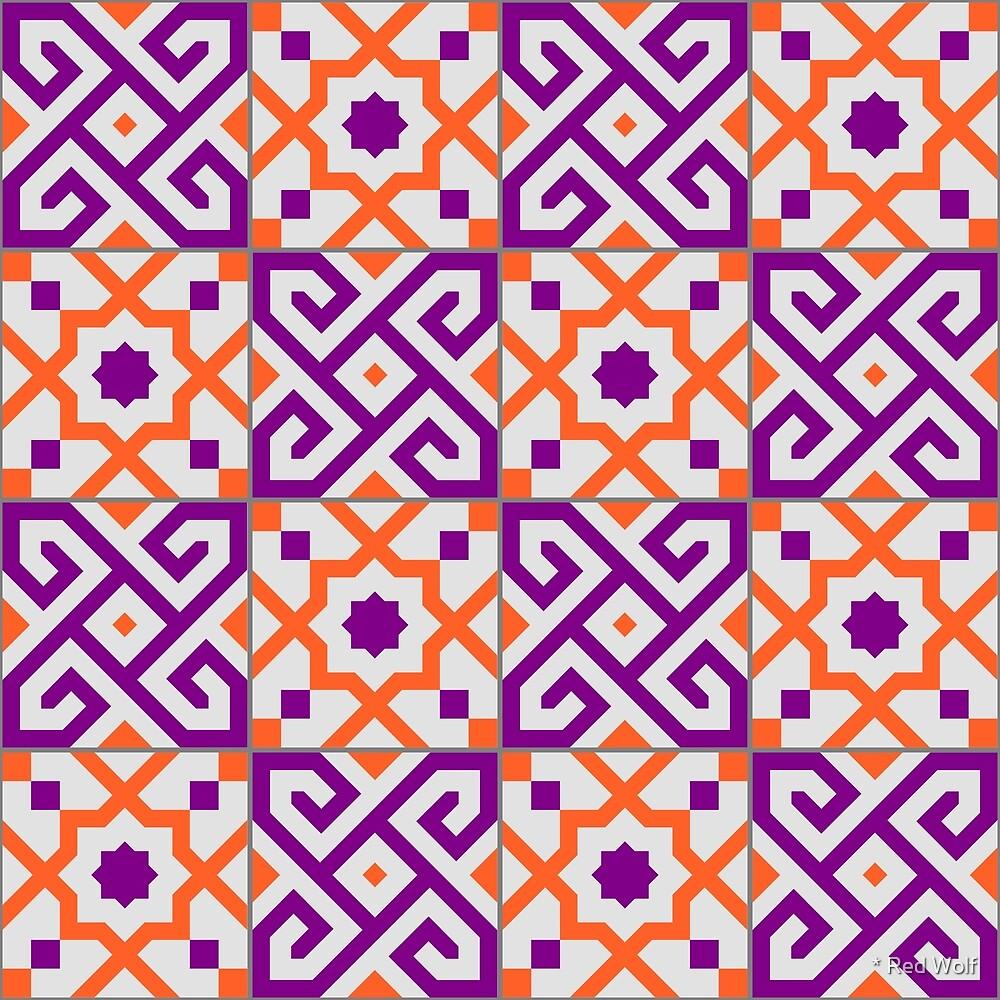 Geometric Pattern: Tiles: Purple/Orange by * Red Wolf