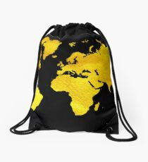 Black and Gold Map of The World - World Map for your walls Drawstring Bag