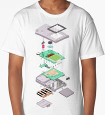 Lowpoly Vector Gameboy DMG Isometric Explosion View  Long T-Shirt
