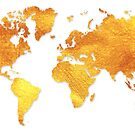 White and Gold Map of The World - World Map for your walls by DejaVuStudio