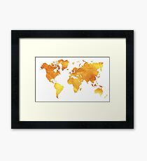White and Gold Map of The World - World Map for your walls Framed Print