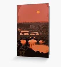 Sunset on river Arno, Florence Greeting Card