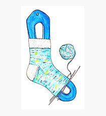 Hand knitted Sock Photographic Print