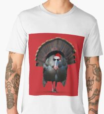 Cool Christmas Turkey wearing Santa Hat and sunglasses Men's Premium T-Shirt