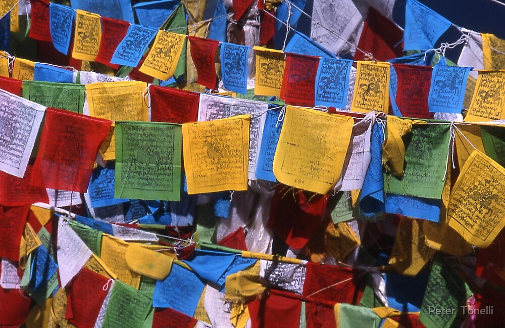 Prayer Flags - yunnan by Peter  Tonelli