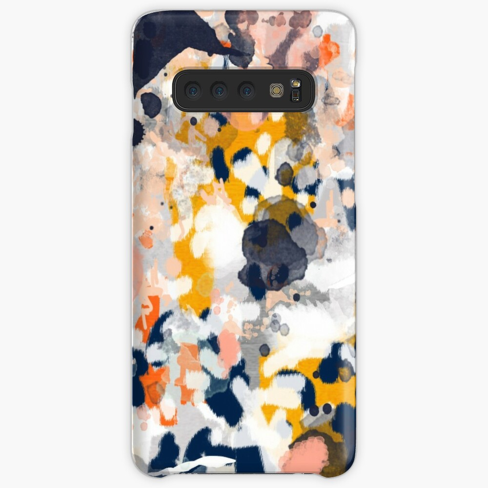 Stella - Abstract painting in modern fresh colors navy, orange, pink, cream, white, and gold Case & Skin for Samsung Galaxy
