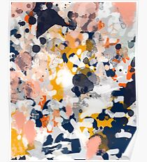 Stella - Abstract painting in modern fresh colors navy, orange, pink, cream, white, and gold Poster