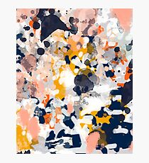 Stella - Abstract painting in modern fresh colors navy, orange, pink, cream, white, and gold Photographic Print