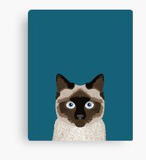Ezra - Siamese Cat, Cute Kitten Retro Cat Art cell phone case, siamese, cute cat Canvas Print