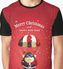 santa claus in flight - red Graphic T-Shirt
