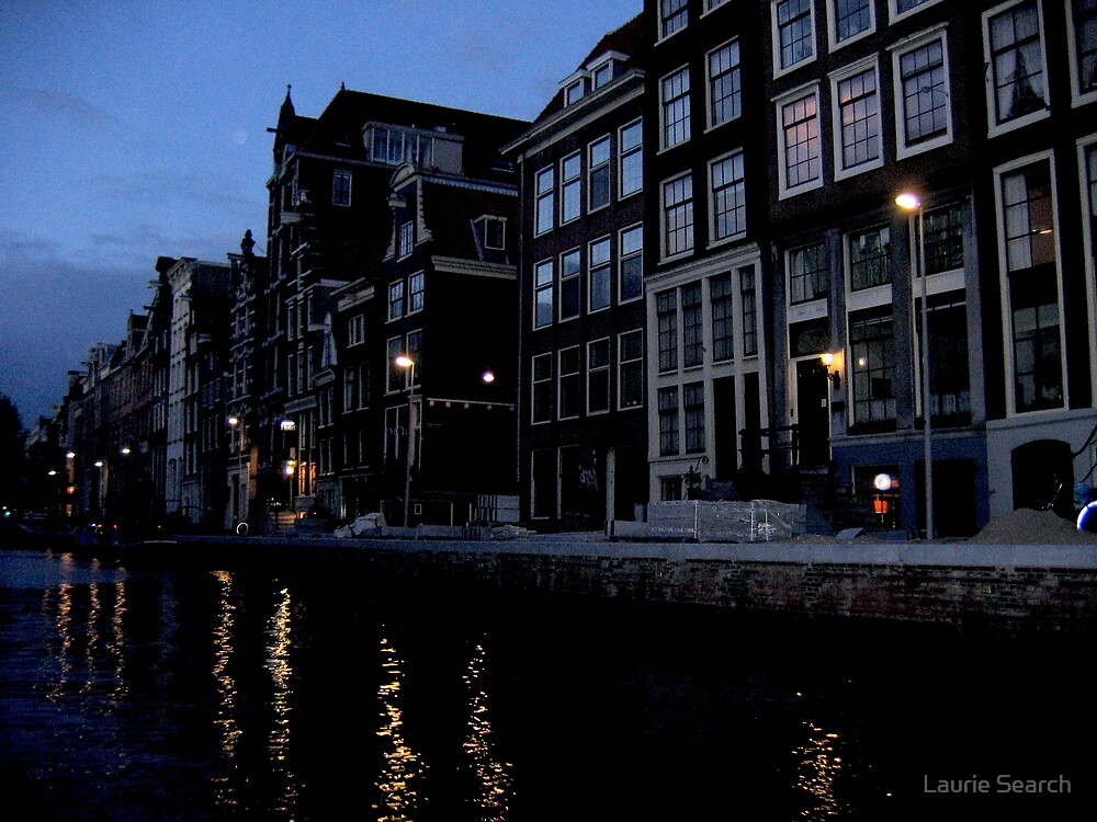 Nighttime on an Amsterdam Canal by Laurie Search