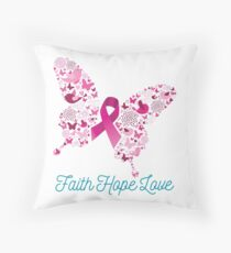 Breast Cancer Awareness - Faith Hope Love Throw Pillow