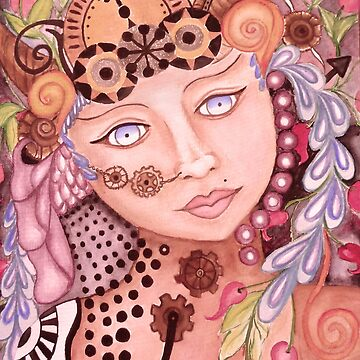Steampunk woman watercolor themed art by MNA-Art
