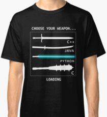 Camiseta clásica Funny Computer Science Shirt-Java C ++ Python C Programador armas para mujeres hombres