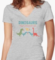 Dino Fact Women's Fitted V-Neck T-Shirt