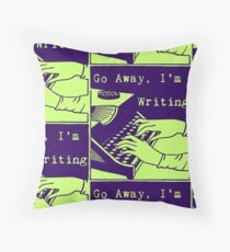 Go Away, I'm Writing (Navy/Lime) Throw Pillow