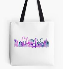 Orlando Theme Park Inspired Watercolor Skyline Silhouette Tote Bag