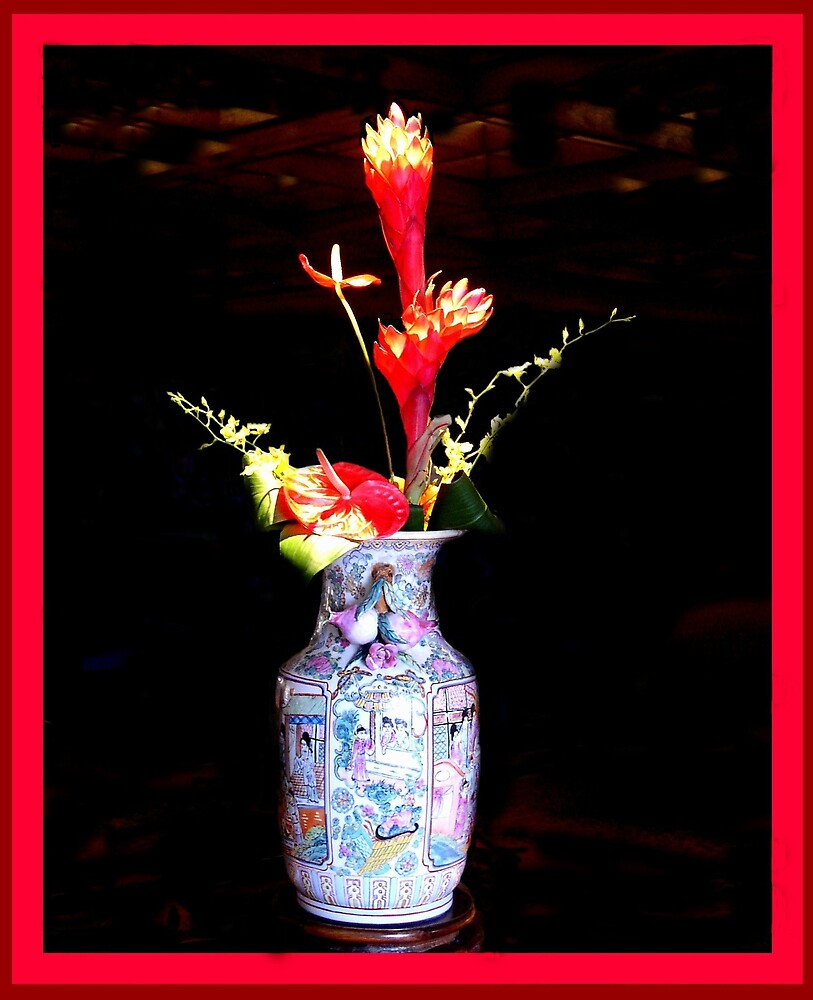Tropicals in Asian vase by Charlie54