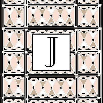 1920s Pink Champagne Deco Monogram letter J by CecelyBloom
