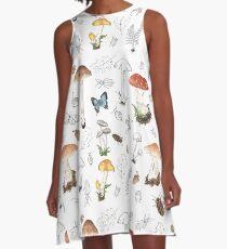 Woodland Mushroom Print A-Line Dress