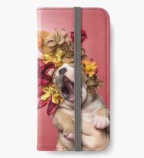 Flower Power, Luvable puppy iPhone Wallet/Case/Skin