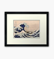 Classic Japanese Great Wave off Kanagawa by Hokusai Wall Tapestry Traditional Version HD High Quality Framed Print